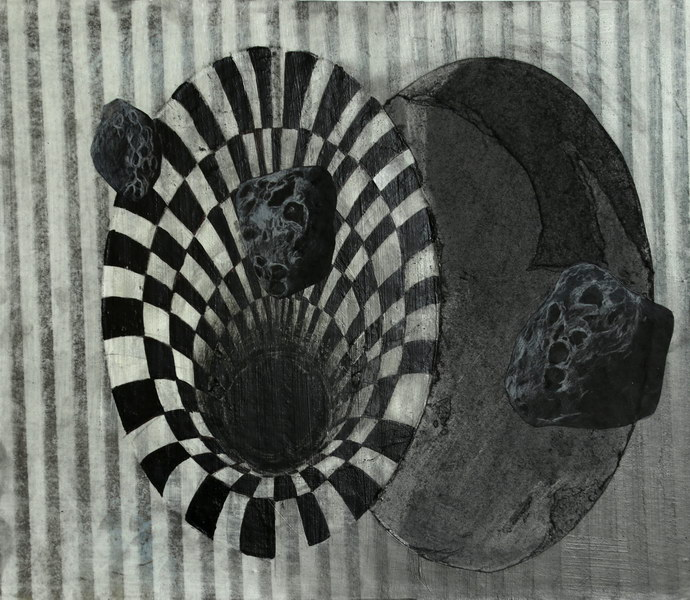How to Make an Anamorphic Hole? (40 x 50 cm, drawing and collage)